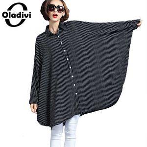 Oladivi Oversized Shirt Women Large Size Top Striped Blouses 2020 Spring New Tees Tunic Plus Size Clothing Female Blusas 8XL 6XL