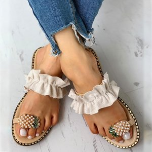 Ladies Sandals Summer Casual Sandals Women's Flat Toe Pineapple Pearl Bohemian Casual Shoes Flat Beach Sandal Slippers sandalia