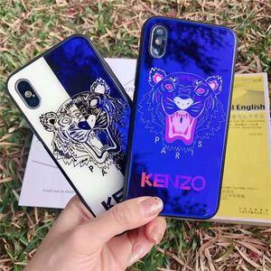 Custodia per cellulare con luce blu e cover per telefono con testa di tigre per iPhone 6/7/8 Plus X XR XS Max