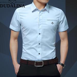 Dudalina Summer New Men's Shirt Brand Luxury Men Cotton Short Sleeves Dress Shirt Turn-down Collar Cardigan Shirt Men Clothes T200622