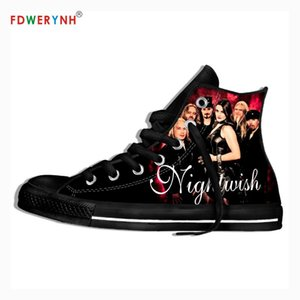 Uomini a piedi scarpe di tela Nightwish band più influente Fasce metalliche di tutti i tempi colore personalizzato Lace-up Svaghi Scarpe con la zeppa