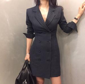 Nuovo arrivo slim collar striscia turn-down doppia giacca donne abito monopetto verticale 2017 delle donne