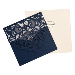 European Style Navy blue Pearl Paper Laser Cut Hollow Invitations Cards for Wedding Birthday Party Business HC02