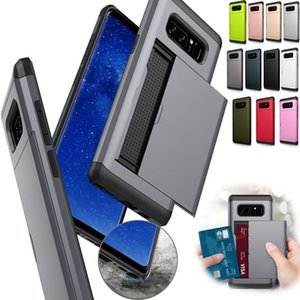 Armor Slide Card Case For Samsung Galaxy Note S20 Ultra 9 8 10 Plus S6 S7 Card Slot Holder Cover For Samsung S9 S8 Plus S7 S6 Edge S10E
