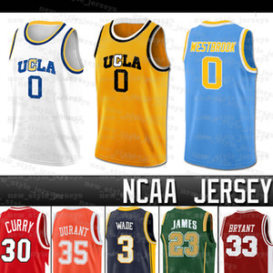 Russell NCAA UCLA Bruins Jersey Lebron Westbrook Stephen Dwyane Curry Wade Kevin James Durant College Basketball Jerseys