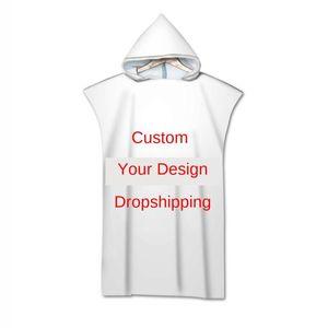 2pcs Customized Wetsuit Microfiber Beach Towel Dress Swim Beach Surf Poncho Towel Hooded Changing Robe Beachwear Bikini Cover UP