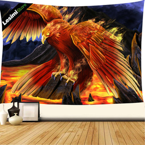 Fantasy animal tapestry wall hanging, golden fire red burning phoenix bird hippie tapestry, art wall blanket beach towel home