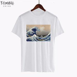 Ukiyoe Vincent Van Gogh Print Tshirt Harajuku Aesthetic Clothes Women Short Sleeve Tee Art Top Vintage Japanese Style Streetwear