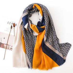 Signore nuovo modo geometrica Patchwork Fringe viscosa dello scialle autunno inverno Marmitta fascia Foulards sciarpa Wrap Hijab Snood T200407