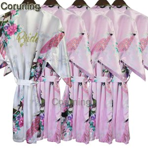 RB031 Plus Size Kimono Robe Sleepwear Bride Robe Kimono Dressing Gowns For Women Home Bridesmaid Robe