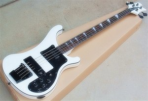 Factory White 4 Strings Electric Bass with Rosewood Fretboard,Black Pickguard Hardwares,Single Binding Body,can be customized.