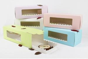 5 cores Longo Papelão Bakery Caixa para bolo de rolo Rolo suíço Boxes, Bolacha, Bolo Packaging W9273