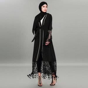 Femmes Robe musulmane Abaya Robe Patchwork Dentelle Cardigan Black Muslim Kaftan Dubai Hijab Plus Size 4XL Vêtements islamique