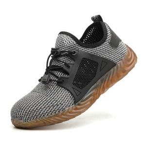 HEFLASHOR 2019 Indestructible Ryder Calzado para hombres Dedo del acero Seguridad aérea Calzado casual Zapatillas de trabajo a prueba de pinchazos Transpirables