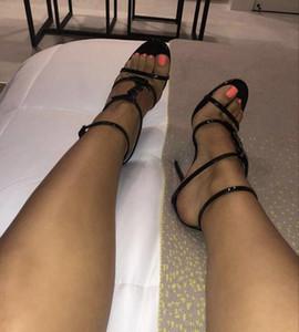 zapatos reales! 2019 estilo de diseño de lujo de charol Thrill Heels mujer cartas únicas sandalias vestido de boda zapatos de marca sexy zapatos 35-41