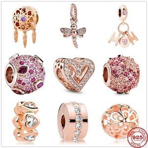 New925 perles en argent sterling mousseux Dragonfly Pendentif fleur bricolage fines Fit Charms originale argent 925 bijoux Bracelet