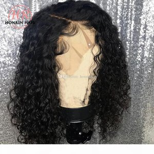 Honrin Hair Deep Part Lace Front Wig Short Deep Curly Pre Plucked Hairline Full Lace Human Hair Wig Malaysian Virgin Hair 150% Density