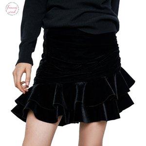 Elegant Women Velvet Mini Skirts 2019 Winter Fashion Ladies Ruffles Short Skirt Female Vintage High Waist Skirts Girls Chic