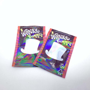 Wonka Gummies Mylar Bags With a Clear Window Smell Proof Zip Lock Plastic Three Sides Sealed Mylar Bags