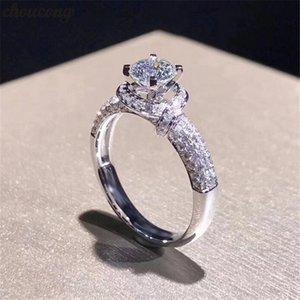 choucong Stunning anello fiore promessa Diamante 925 d'argento di fidanzamento di nozze anelli a fascia per le donne Brial