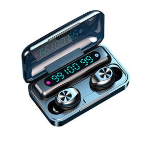 F9-10 سماعة بلوتوث لاسلكية مع ميكروفون بصمة اتصال لاسلكية سماعة الأذن اللاسلكية توري مع 3 عرض الصمام