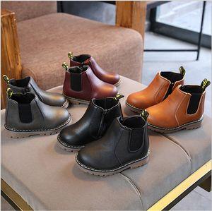 Kinder Martin Stiefel Winter-PU-Leder-Sneakers Jungen Mädchen Stiefeletten Schuhe Zipper Boots Mode Unisex-England-Art Kinderschuhe Weihnachtsgeschenk