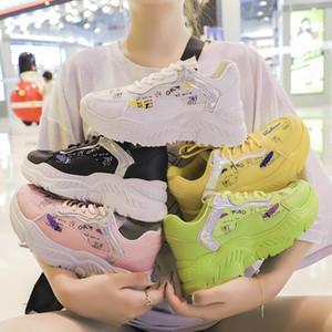 Kadınlar Chunky Sneakers Kadın Basket Sarı için 2019 Moda Platformu Sneakers Kadın Dilimleri Günlük Ayakkabılar Zapatillas Mujer Ayakkabı