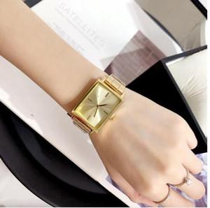 Einfache Square New Art und Weise Luxuxdamen Rechteck Uhr Frauen Stahlumreifungsmittels Band business casual elegant Quarzuhr Frauen Quarz-Frauen