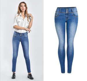 New Arrival Plus Size Faded Jeans For Women Stretchy Push Up Denim Skinny Pant Trousers Female Stretchy Jeans Pencil Pants J2813