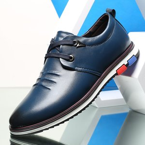 British Style Men Leather Casual Shoes Fashion Lace Up Oxford Shoes Sapato Masculino Comfortable Business Casual Men Flat Shoes