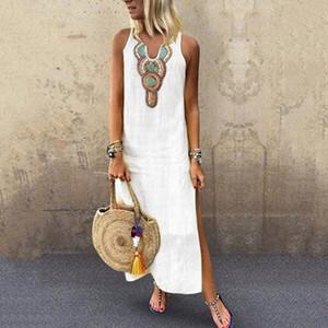 2020 Vacaciones de Boho de las mujeres de la vendimia blanca de Split White Plus verano partido sin mangas maxi largo del vestido Vestido de tirantes Vestido Kaftan S-5XL # g4