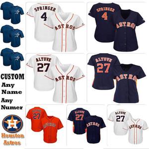 Houston personalizada para mujer niños jugadores Jersey 4 George Springer 27 José Altuve 2 Alex Bregman 1 Carlos Correa Astro knit jerseys del béisbol