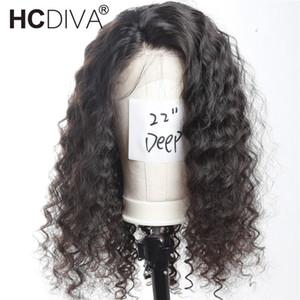 브라질 버진 헤어 전체 레이스 인간의 머리카락 가발 흑인 여성을위한 깊은 웨이브 130 % 밀도 레이스 프론트 가발 아기 머리카락과 함께 Pre-plucked Hairline
