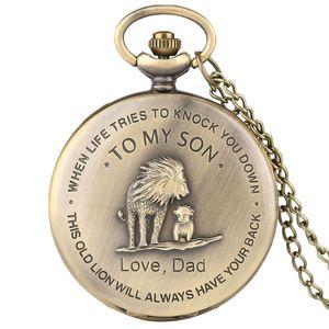 스팀 펑크 레트로 'TO MY SON'회중 시계 LOVE DAD 남성 보이 아날로그 석영 목걸이 체인 시계 최고의 선물
