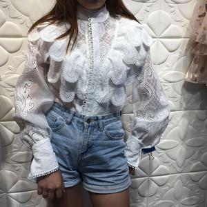 2020 nuovi arrivi di alta qualità Designer Runway Camicia femminile ricamo Ruffle lungo Lanterna manica bianca Top Camicia Donna Primavera