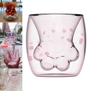 Gato garra de la pata taza de cristal transparente lindo de la flor del pétalo taza de té bebida de leche Copas bar de copas Copas de vino Copas de coches 50pcs OOA6429