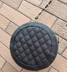 2019 de la moda de Nueva clásico negro famoso C Mujeres Pequeña cadena de caviar cruzada cuerpo bolsa de almacenamiento de regalo redondo del bolso del bolso vip