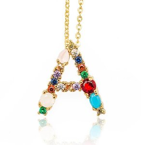 26 Letters necklace crystal zircon ring pendant necklace mix model