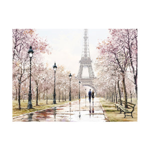 Romantic City Paris Eiffel Tower Landscape Abstract Oil Painting on Canvas Posters and Prints Wall Art Picture for Living Room