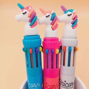 Desenhos animados Multi-Colored Unicorn Pen Silica Multi-função 10 cores Caneta Esferográfica Bola Escola de presente do estudante Artigos de papelaria bonitos