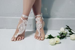 Zapatos de novia de encaje de playa sandalias descalzas Accesorios de boda del baile de novia dama de regalo con cierre de tiras barato En Stock envío rápido