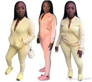 Frauen Anzug Cardigan 2-teiliges Set Laufjacke Hosen Sweatsuit Gestreifte Outwear Gamaschen Outfits Jogginganzug Herbst Winter Kleidung W850