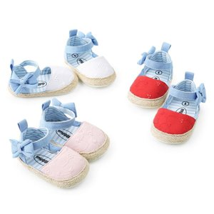 Menina Sandals Summer Baby Shoes clássico bordado Cotton Bow Stripes Baby Girl Shoes Sandals moda casual