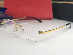 Modedesign neue optische Brillen und Sonnenbrillen 0039 square Randlosbrille transparente Linse Tierbeine Jahrgang einfacher Stil