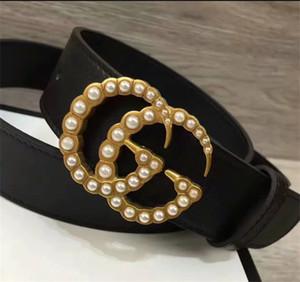 Vendita calda di alta qualità 2019 designer di marca di moda cintura in vera pelle uomo donna lusso fibbia della perla cinture di moda casual