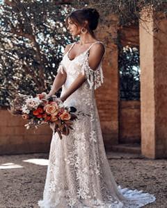 Vestido de novia de playa de Boho cordón de la vendimia 2019 de espagueti correas del hombro verano de Bohemia Vestidos de novia vestido de la novia País