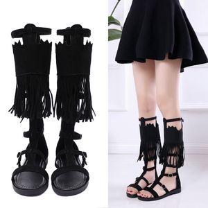 Hot Sale-Mobi Mobi New Summer 2019 Sandalias y sandalias para mujer Roman Liusu Zipper High Cylinder High Shoes