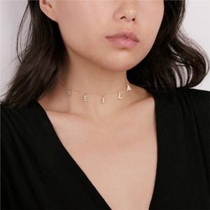 Collana con nome personalizzato Lateefah Collane personalizzate Collana con nome in zircone Collana personalizzata Gioielli con ciondolo da donna iniziali