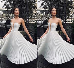 Poco Blanco Profundo Cuello En V Vestidos de Fiesta Cortos Longitud de Té Arrugas Falda de Las Mujeres Vestido Causal Vestidos de Coctel Baratos 2036