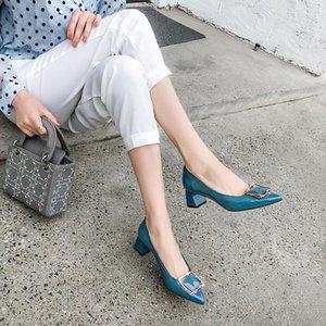 Pop2019 individual cuero auténtico gruesa con fuertes Boca baja cuatro estaciones del zapato del viento Hundred Paper cerrojo puesto un pie zapatos cómodos de la mujer